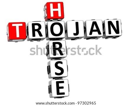 3D Trojan Horse Virus Crossword over white background