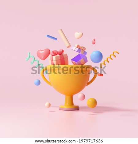 3D Trophy cup with floating gift, heart, ribbon and geometric shapes on pink background, celebration, winner, champion and reward concept. 3d render illustration