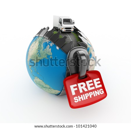 3D Truck on world -Free shipping -isolated