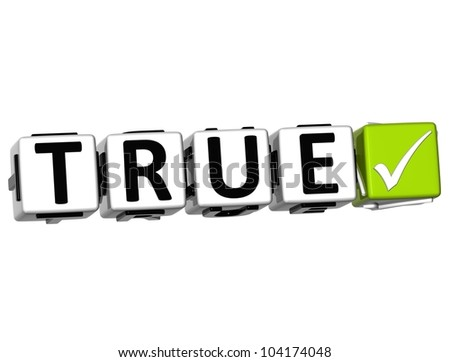 3D True Button Click Here Block Text over white background
