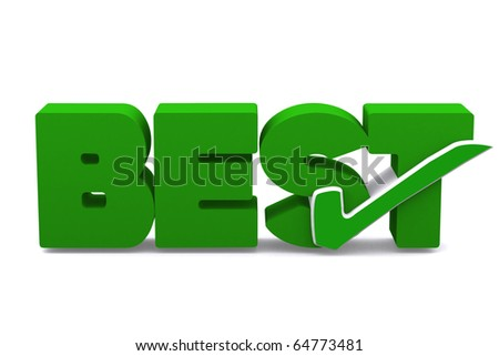 3d true symbol in word BEST on white isolated background - stock photo