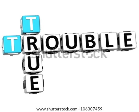 3D True Trouble Crossword on white background