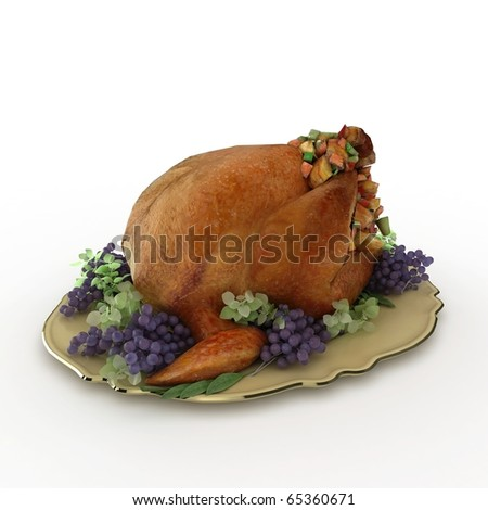 3d turkey on the plate isolated on white