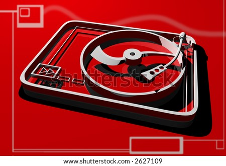 3d turntable on red background