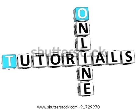 3D Tutorials Online Crossword on white background