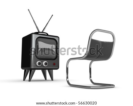 3d tv and chair isolated on white-High res.