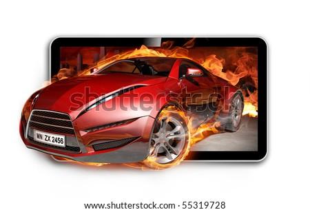 3D TV. Burning sports car on TV screen.