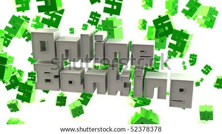 "3D Typographic render of the words ""Online Banking"""