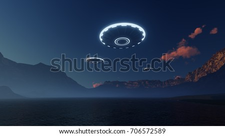 3D UFO over the mountains lake
