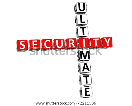 3D Ultimate Security Crossword on white background