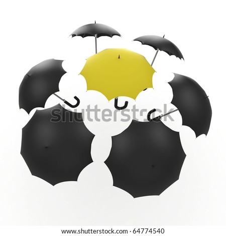 3d umbrella black and yellow isolated on white