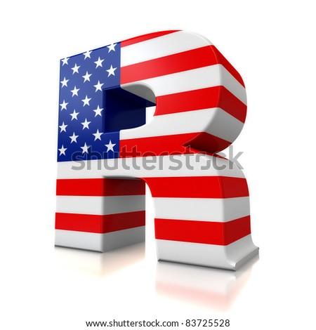 3d US letter for logos - R  R Logo 3d