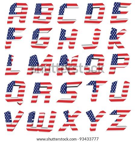 3d USA letter on white