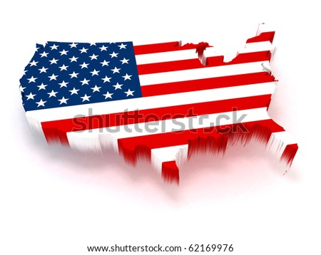3D USA map covered with a us flag texture