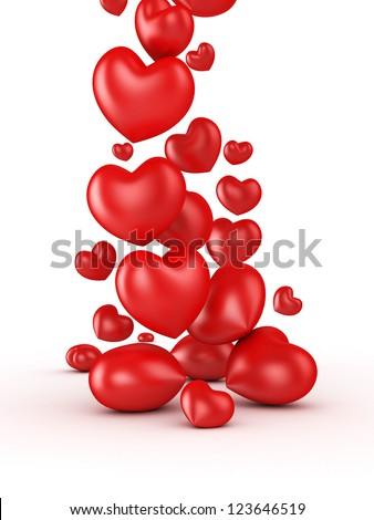3D valentines day hearts falls isolated