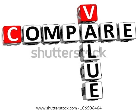3D Value Compare Crossword on white background