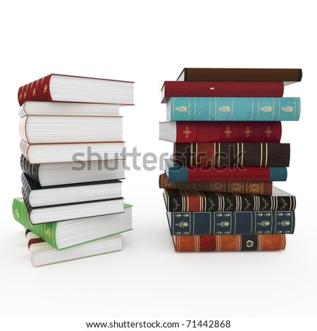 3d various books pile isolated on white