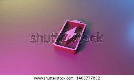 3d vertical vertical symbol of charging empty battery with flash render on colorful blue violet fill smooth background