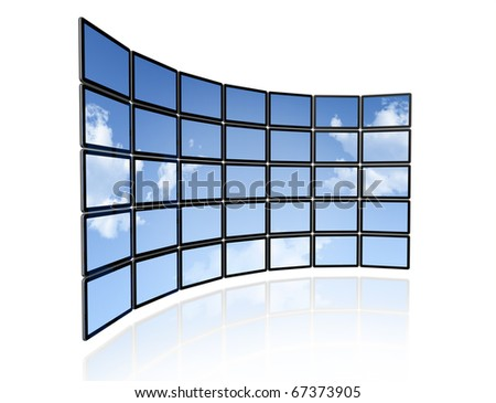 3D video wall of flat tv screens with sky background, isolated on white