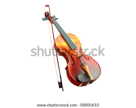 3d violin on the white background