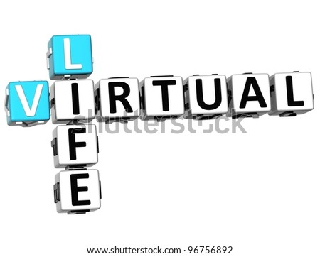 3D Virtual Life Crossword cube words on white background