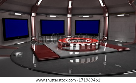 3D virtual set for news wide angle view
