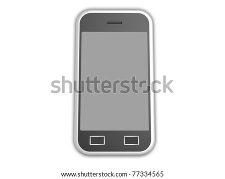 3d visualization of isolated cell phone with touch screen