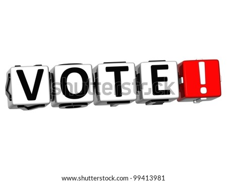 3D Vote Block Text  on white background