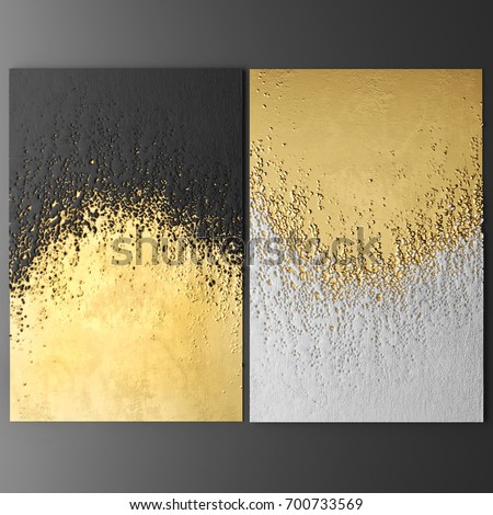 3D wall art, paintings with gold leaf