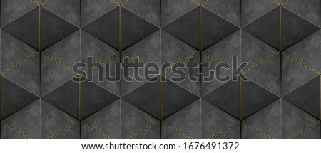 3D wall of gray triangles with gold edges in the loft style assembled in hexagons and seamless ornament. High quality seamless realistic texture.