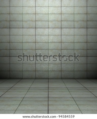 3d Wall With Tiles Texture In Empty Interior