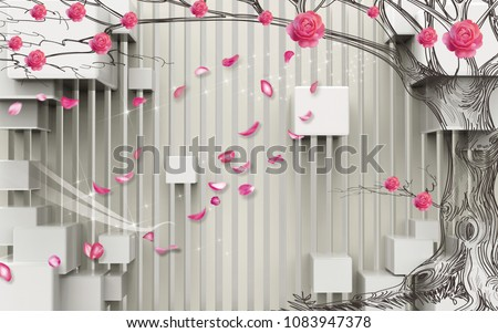 3D wall with tree