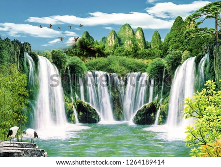 3d Wallpaper background design with natural landscape and waterfall for photomural