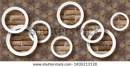 3D wallpaper background, High quality flower with circles rendering decorative mural wallpaper illustration, 3D flower Living room wallpaper.