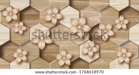 3D wallpaper background, Wooden High quality Hexagon rendering decorative Honeycomb mural wallpaper illustration, 3D flower Living room wallpaper.