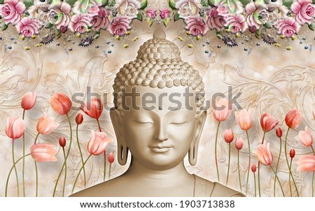 3D Wallpaper, Buddha face with marble background and flowers