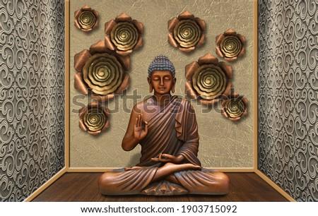 3D Wallpaper, Buddha sculpture in a devotional room