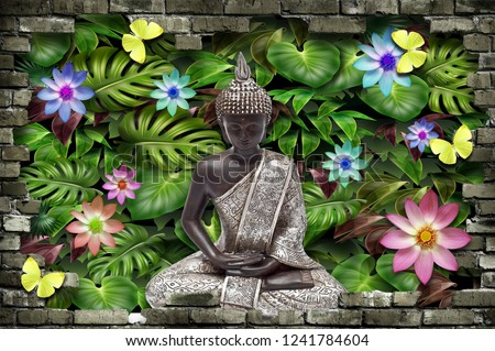 3D Wallpaper, Buddha sitting in Leaves with flowers and butterfly around