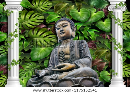 3D Wallpaper, Buddha sitting in meadows