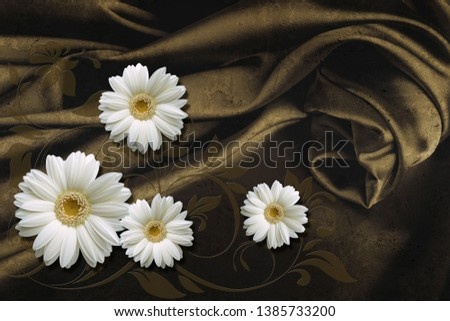 3d wallpaper, daisies on concrete wall textured background. The fresco effect, silk effect.