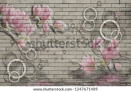 3d wallpaper design background with brick wall and floral circles for photomural