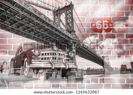 3d wallpaper design background with brooklyn bridge and classic car and brick wall for mural