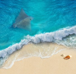 3d wallpaper design. Underwater world. Image with stingray and ocean waves Collage. 3d floor