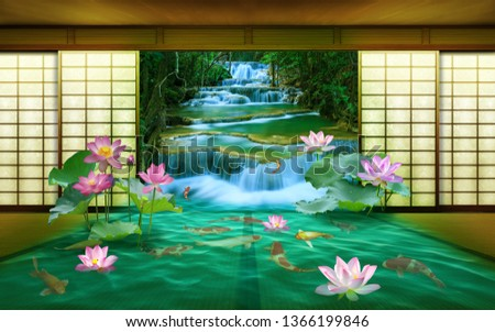 3d wallpaper design waterfall and sea