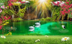 3d wallpaper design waterfall and sea , lake