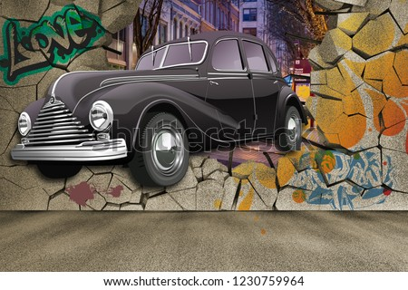 3d wallpaper design with a classic car jumping out of broken graffinti wall