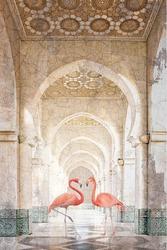 3d wallpaper design with flamingo in colum tunnel