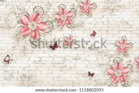 3d wallpaper design with floral jewellery on upholstry for photomurals