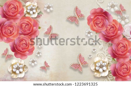 3d wallpaper design with florals and butterflies for photomurals