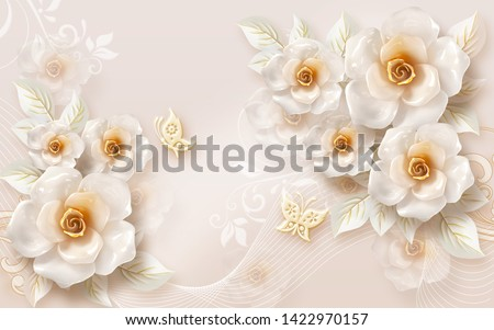 3D wallpaper design with florals for photomural background